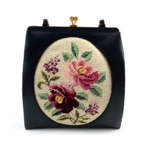 1950 needlepoint + leather purse by ANDRE ORIGINAL